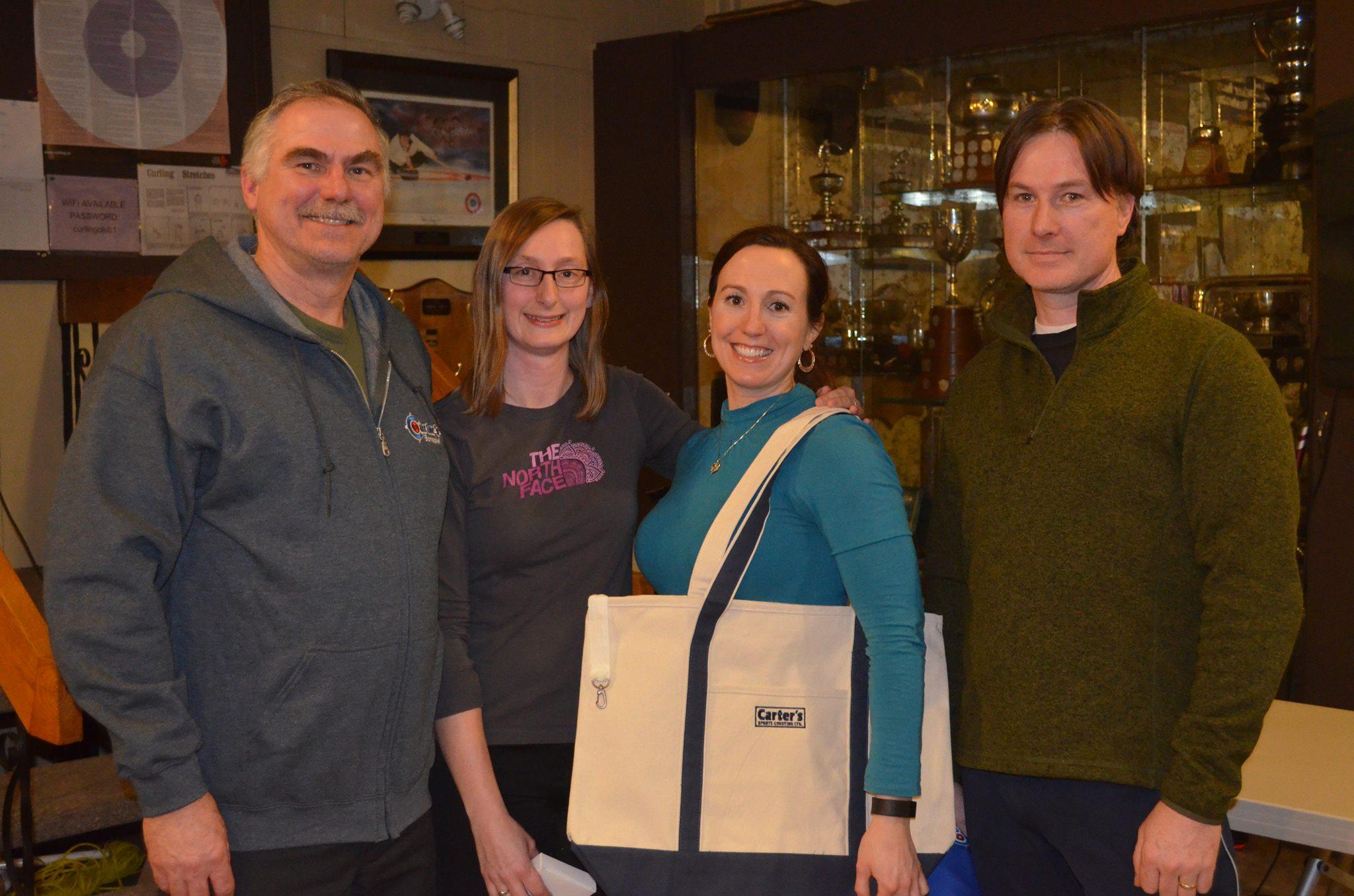 Carter's Sports Cresting Bonspiel 2016 - A Division Winner - Paul Hawkes, Denise Demone, John Greer, Theresa Hawkes, (spare Ted MacKinnon)