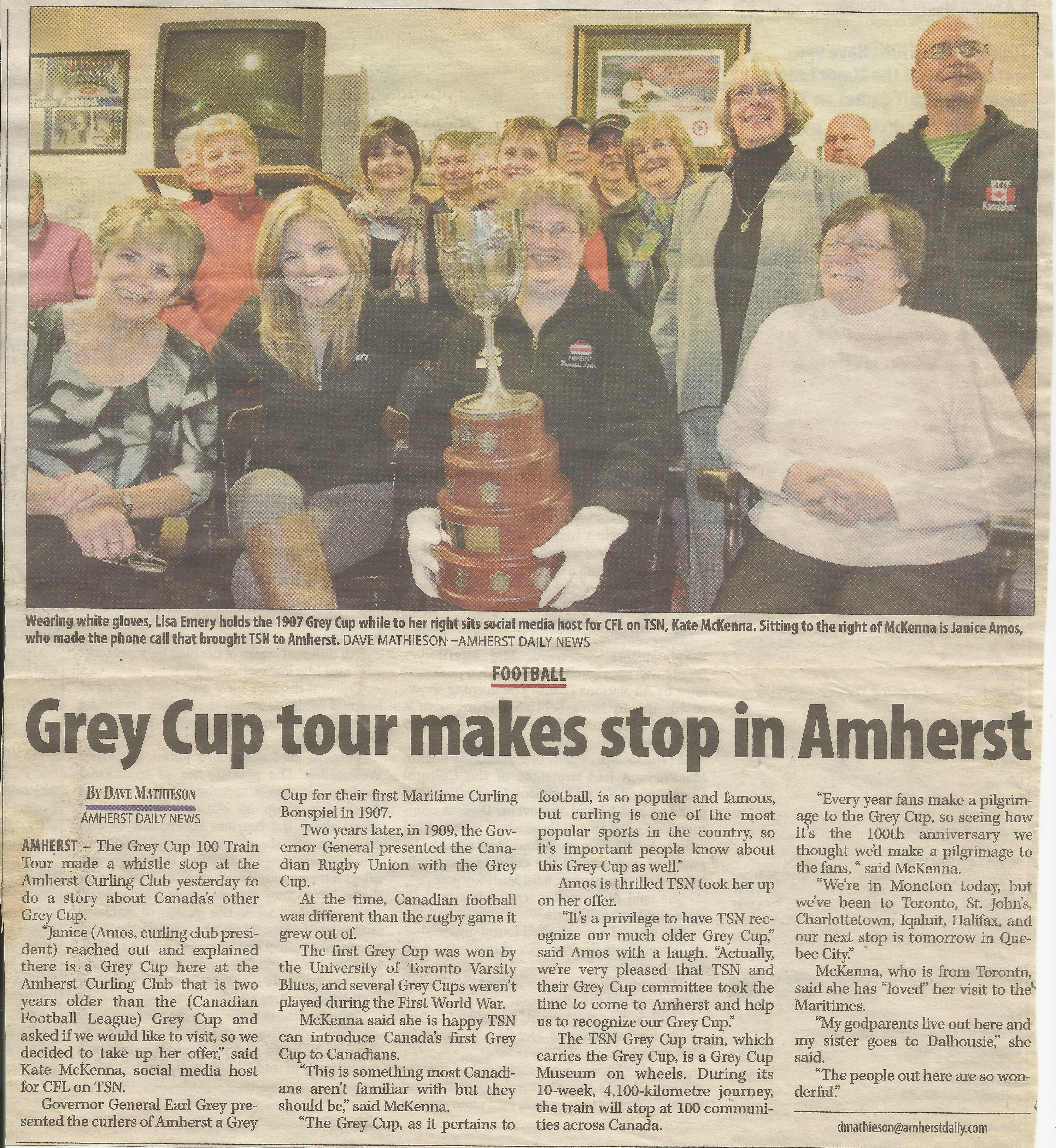 Amherst Grey Cup of Curling - Grey Cup Tour makes stop in Amherst